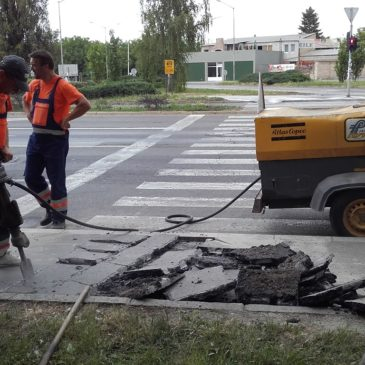 Обнављање пешачке стазе у Прерадовићевој и коловоза у Прешерновој